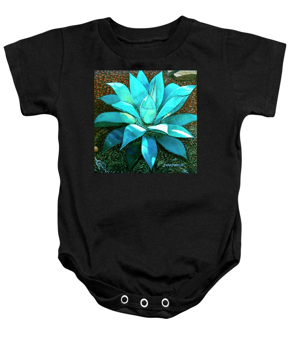 Cactus Baby Onesie featuring the painting Corkscrew by Snake Jagger