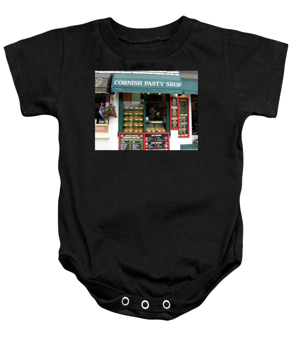 Cornish Baby Onesie featuring the photograph Cornish Pasty Shop by Kurt Van Wagner