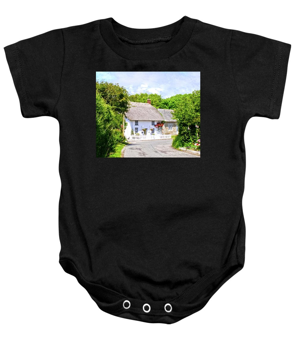 Thatched Cottage Baby Onesie featuring the photograph Cornish Thatched Cottage by Terri Waters