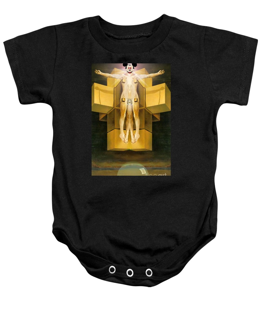 Surreal Landscape Baby Onesie featuring the digital art Corprate God by Danny Lowe