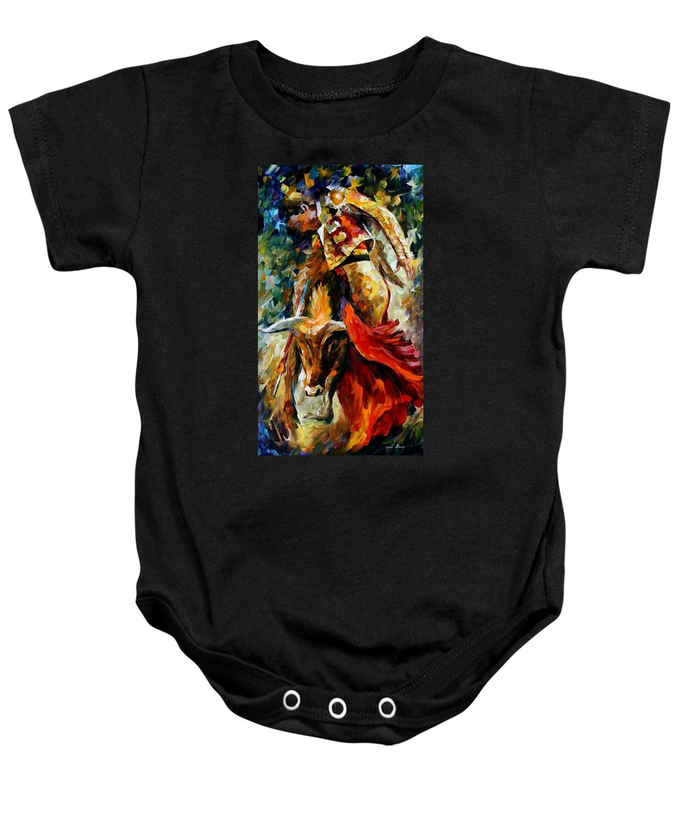Bull Baby Onesie featuring the painting Corrida by Leonid Afremov