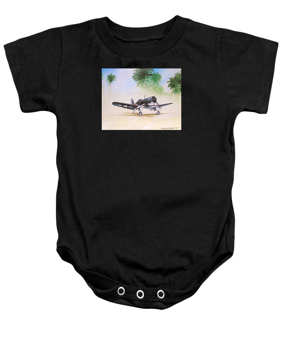 Aviation Baby Onesie featuring the painting Corsair Preflight by Marc Stewart