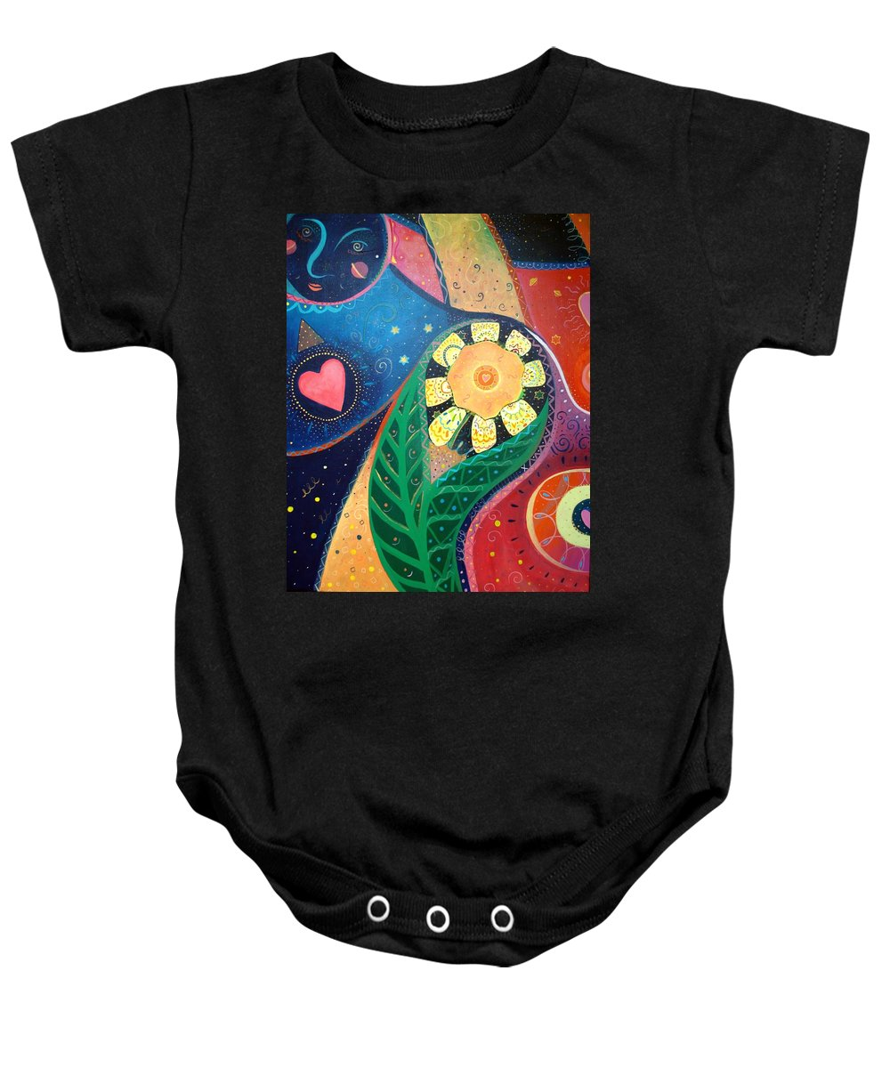 Yin And Yang Baby Onesie featuring the painting Cosmic Carnival II Aka Duality by Helena Tiainen