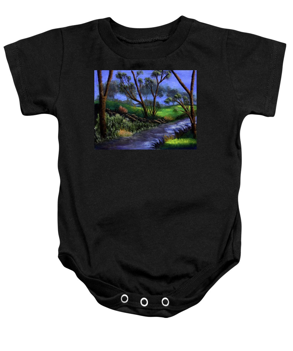 Country Club Baby Onesie featuring the painting Country Club View by Dawn Blair