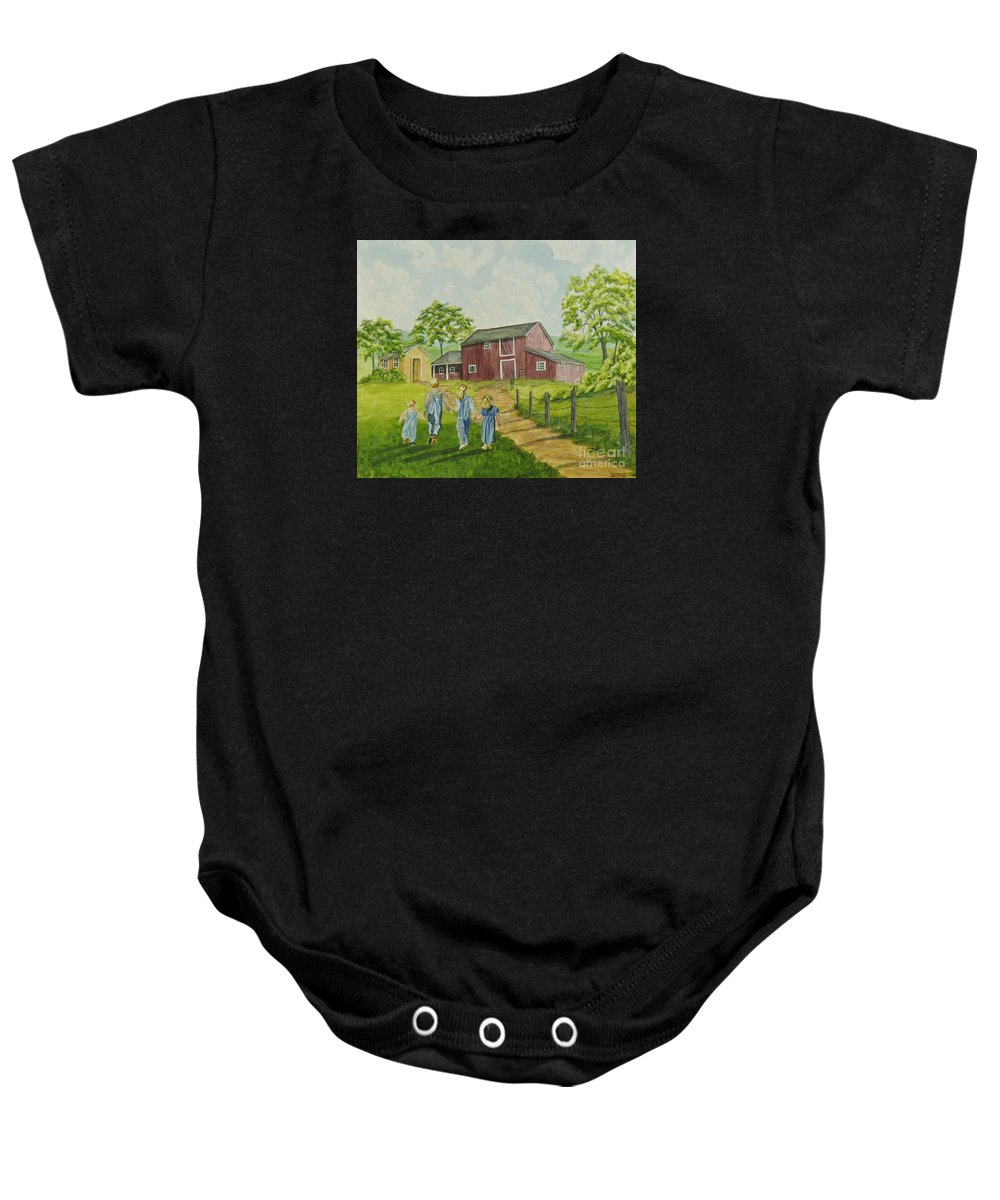 Country Kids Art Baby Onesie featuring the painting Country Kids by Charlotte Blanchard