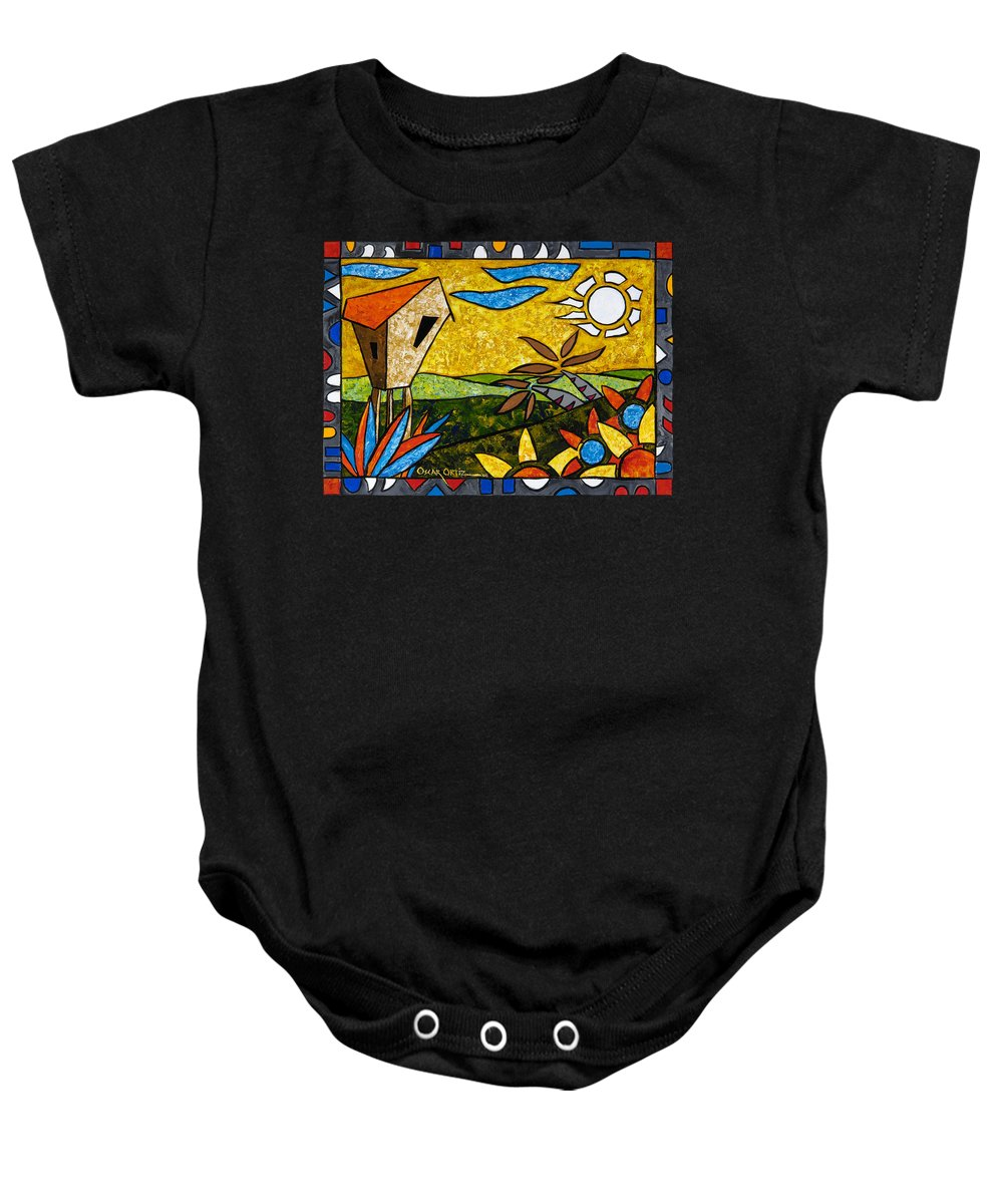 Puerto Rico Baby Onesie featuring the painting Country Peace by Oscar Ortiz