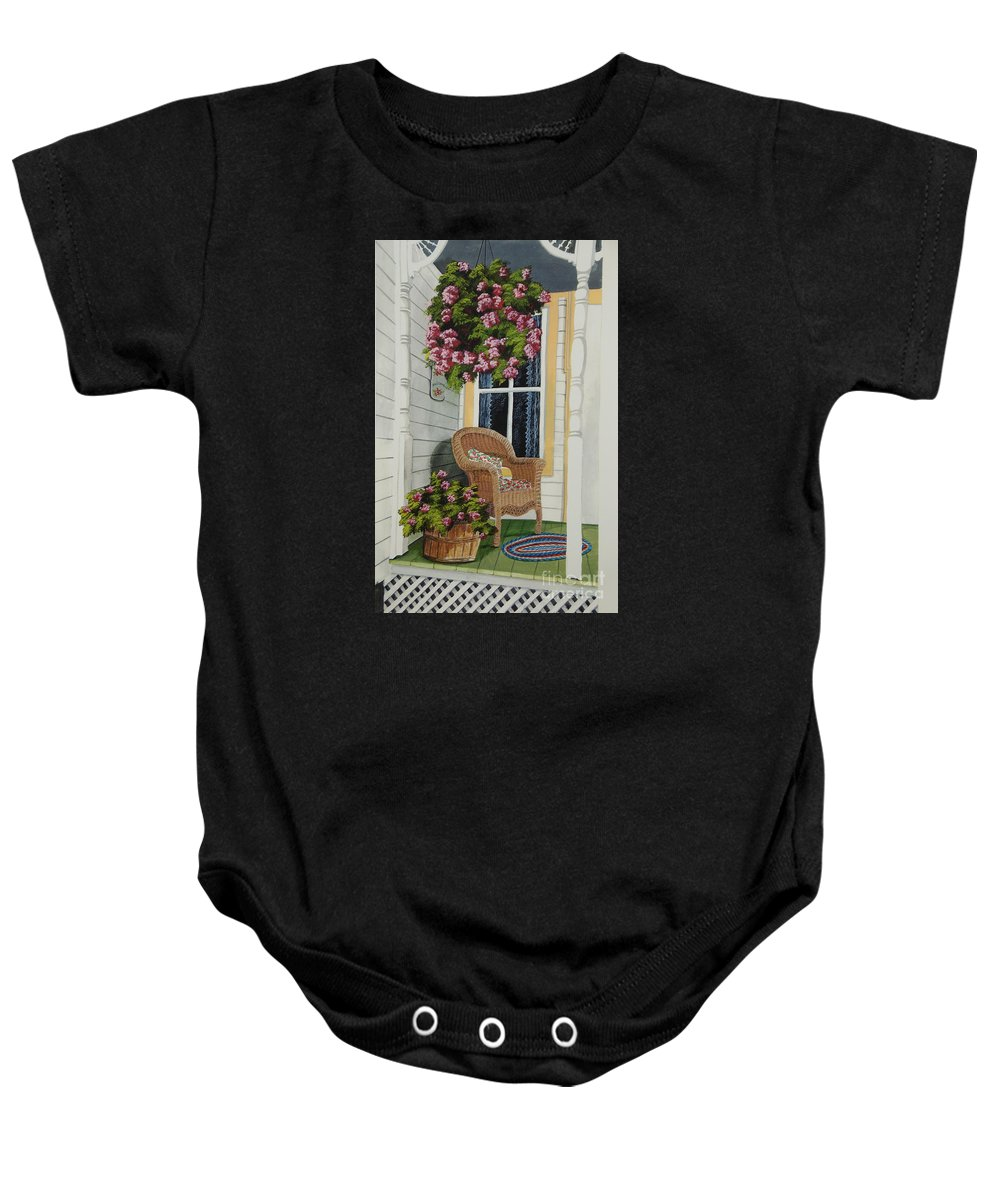 Country Porch Baby Onesie featuring the painting Country Porch by Charlotte Blanchard