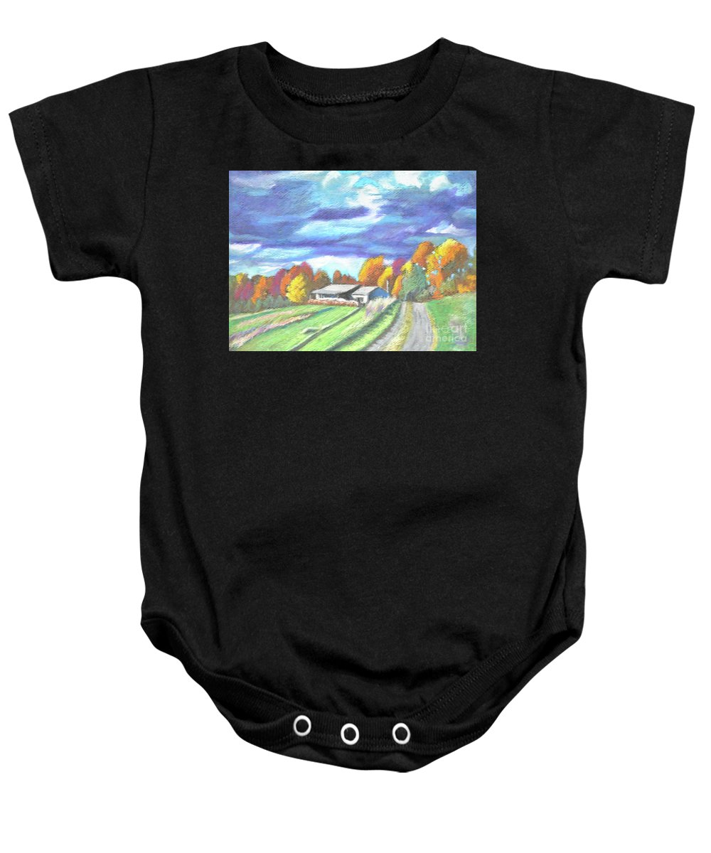 Country Baby Onesie featuring the pastel Country Road by Lori Moon