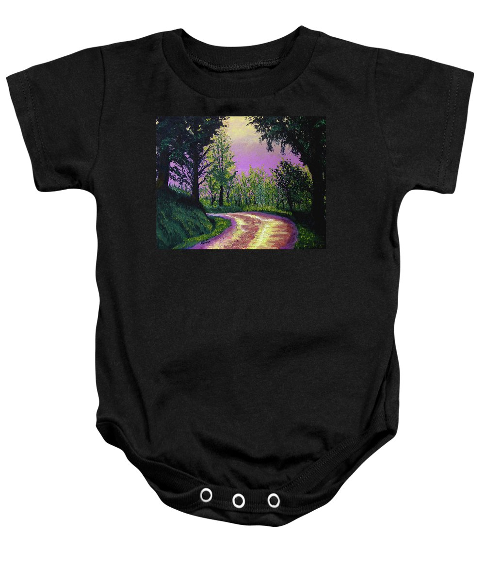 Landscape Baby Onesie featuring the painting Country Road by Stan Hamilton