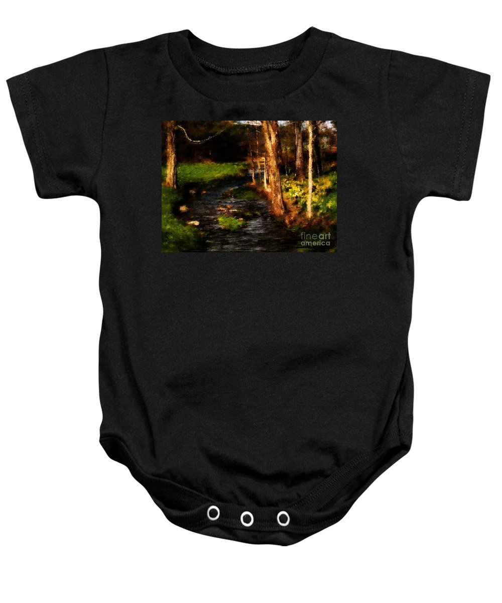 Digital Photo Baby Onesie featuring the photograph Country Stream by David Lane