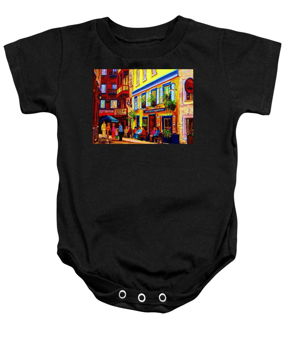 Courtyard Cafes Baby Onesie featuring the painting Courtyard Cafes by Carole Spandau