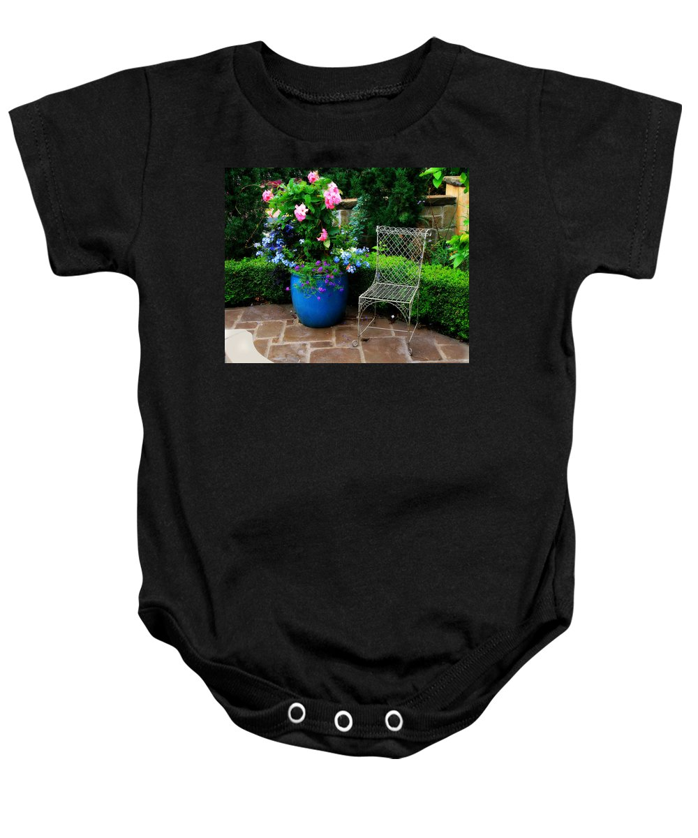 Courtyard Baby Onesie featuring the photograph Courtyard Chair by Perry Webster