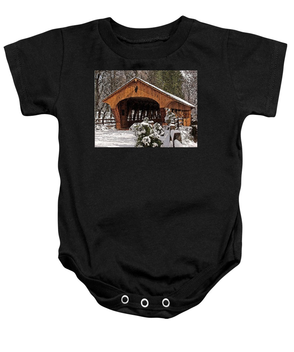 Madera Baby Onesie featuring the photograph Covered Bridge At Olmsted Falls-winter-2 by Mark Madere