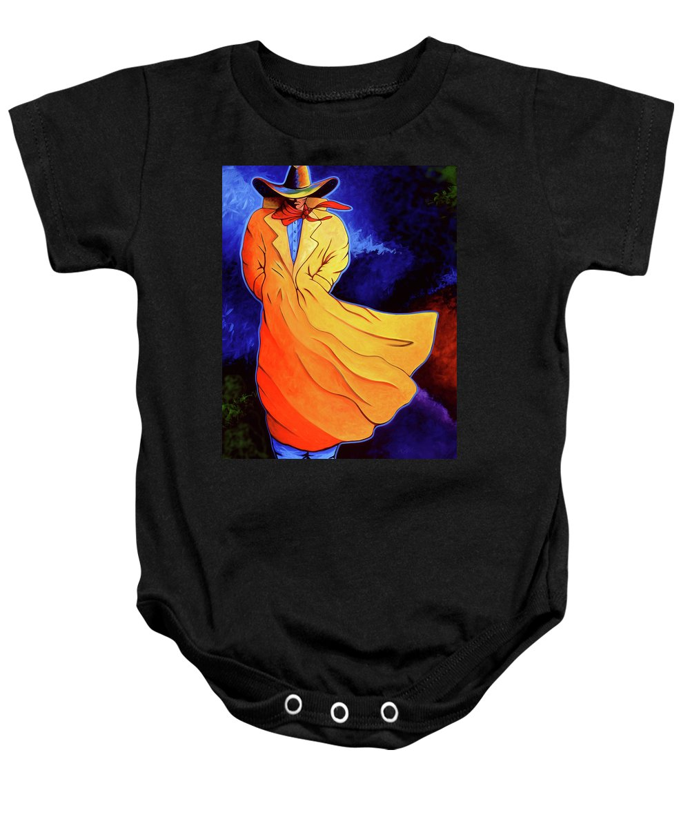 Cowgirl Baby Onesie featuring the painting Cowboy Blue by Lance Headlee