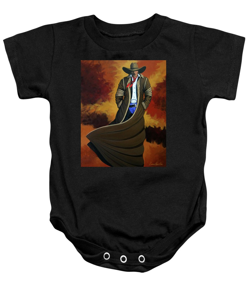 Cowgirl Baby Onesie featuring the painting Cowboy Dust by Lance Headlee