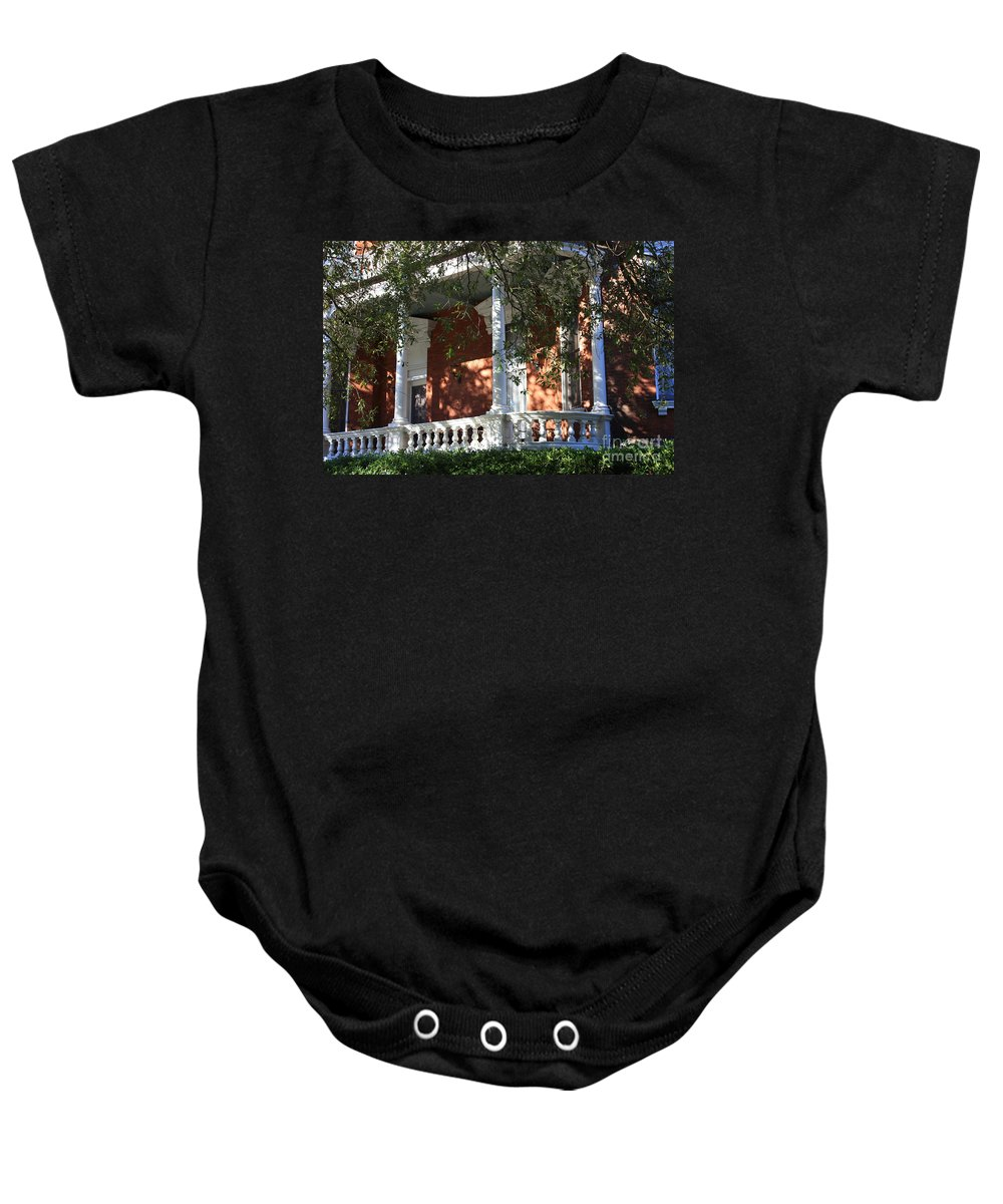 Savannah Baby Onesie featuring the photograph Cozy Savannah Porch by Carol Groenen