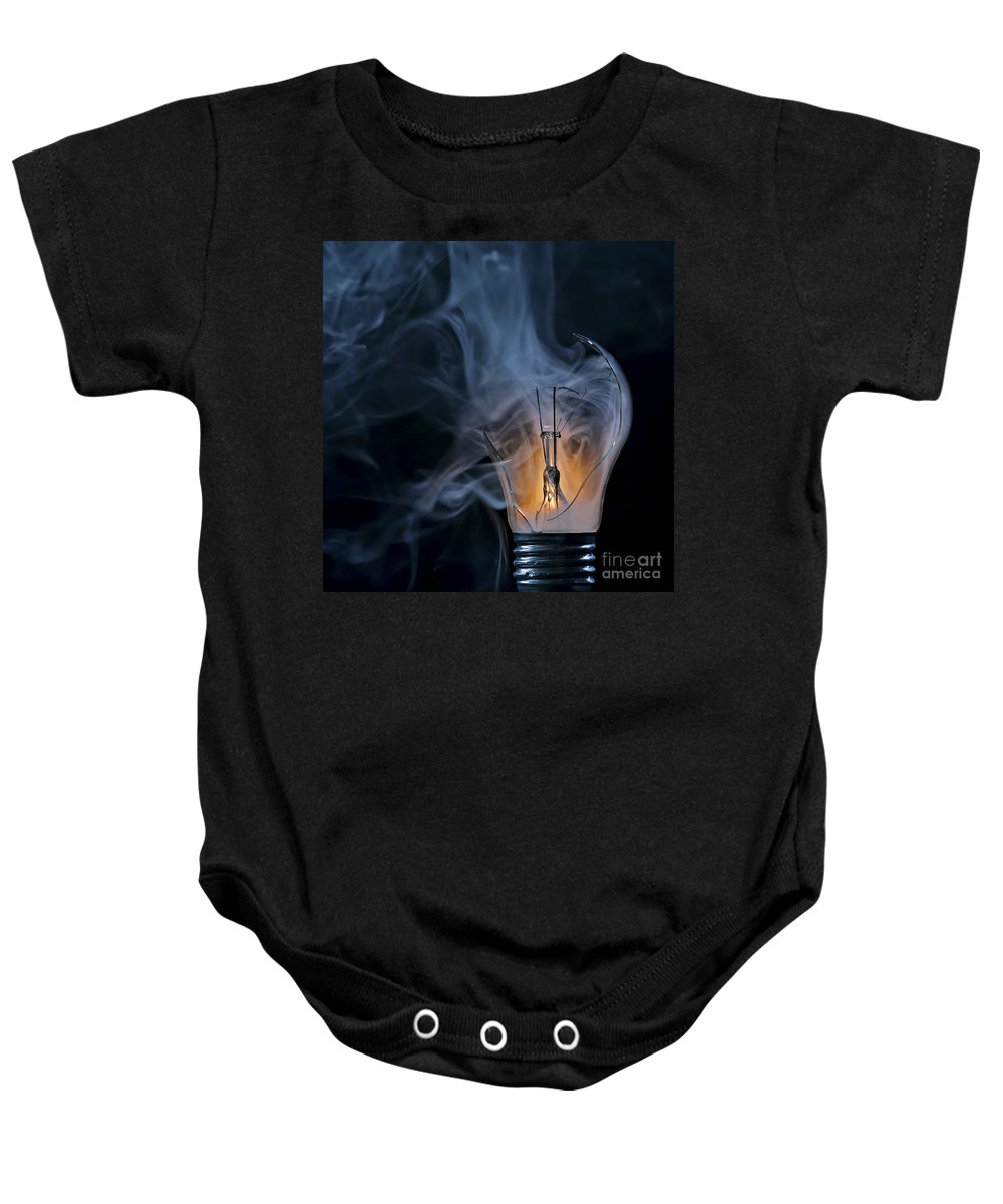 Bulb Baby Onesie featuring the photograph Cracked Bulb by Michal Boubin
