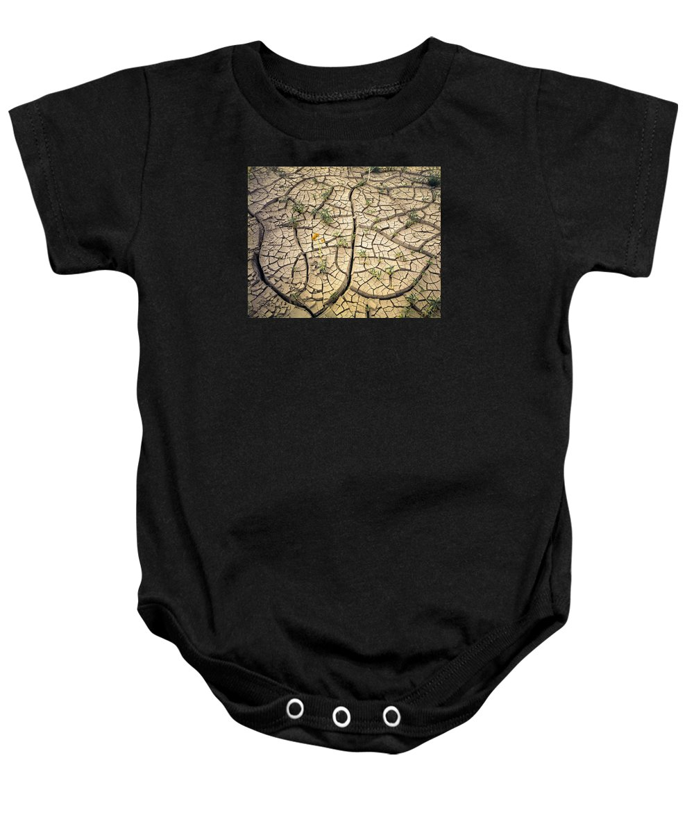 Mud Flats Baby Onesie featuring the photograph 317805-cracked Mud Patterns by Ed Cooper Photography