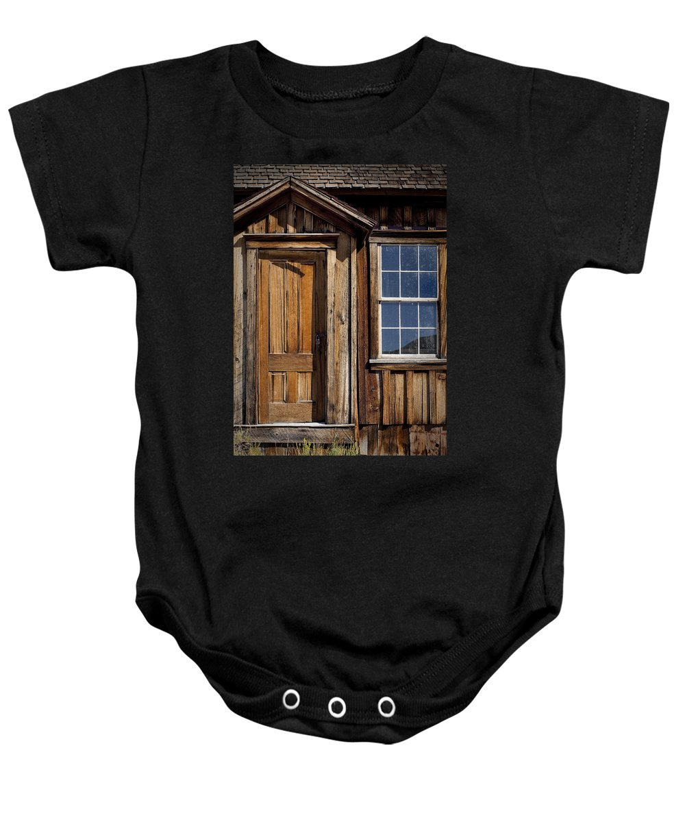 Wooden Door Baby Onesie featuring the photograph Craftsmanship by Kelley King