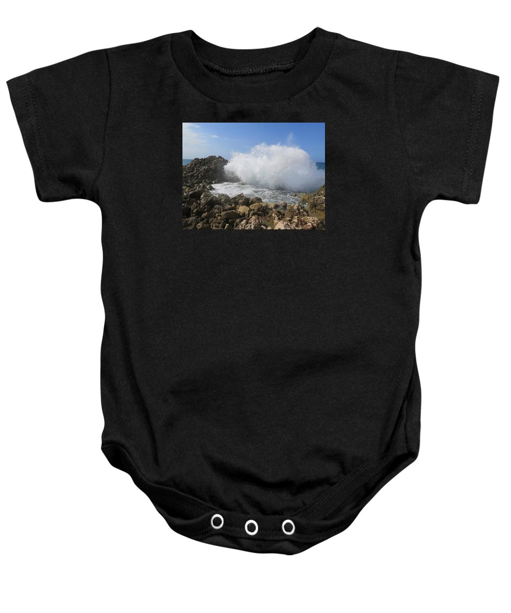 Haiti Baby Onesie featuring the photograph Crashing Wave by Rachel Peak