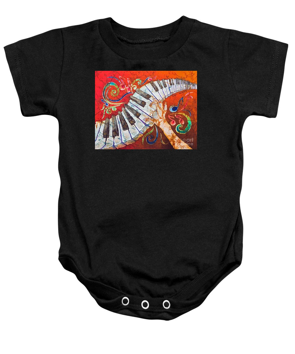 Piano Baby Onesie featuring the tapestry - textile Crazy Fingers - Piano Keyboard by Sue Duda