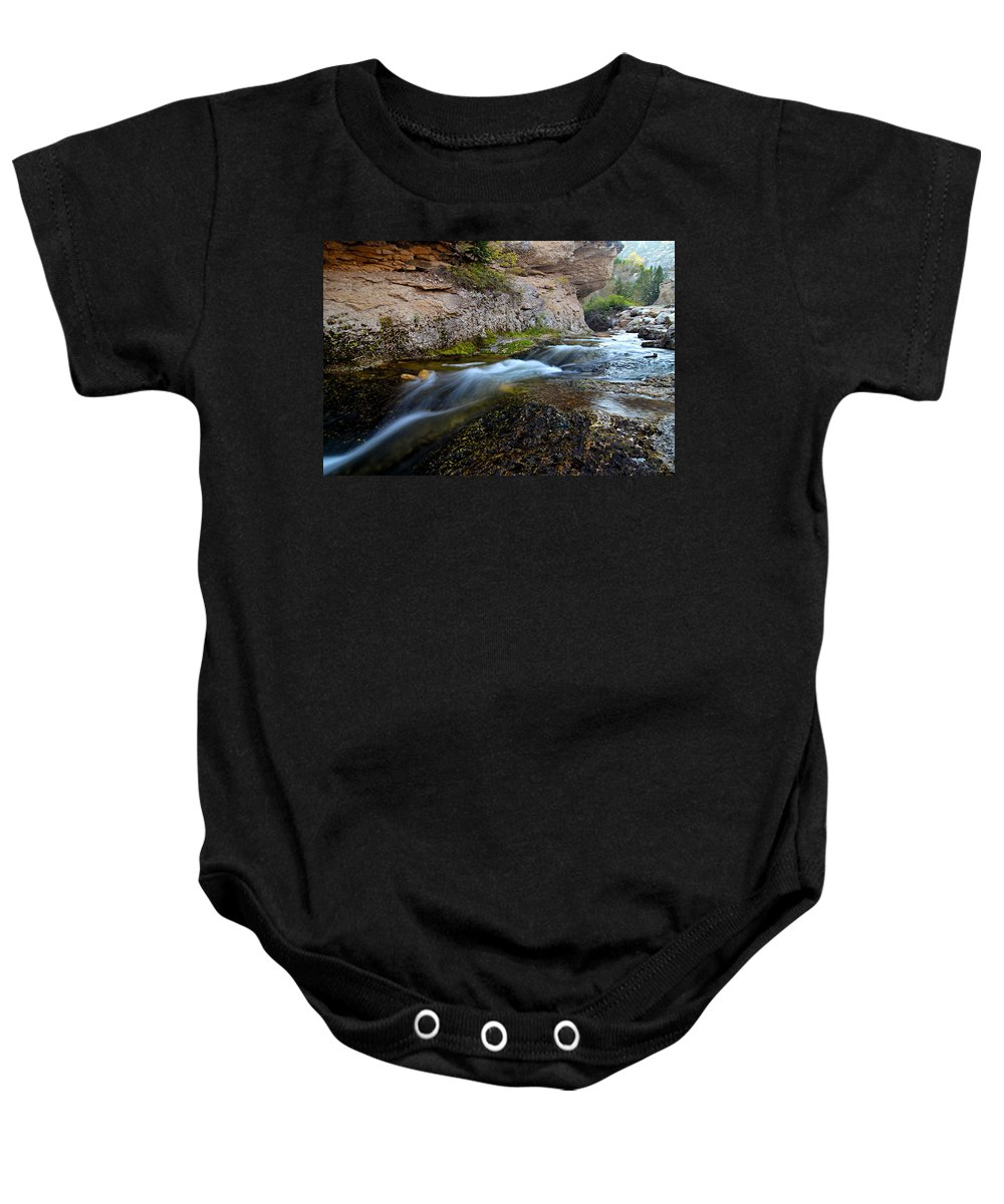Crazy Woman Creek Baby Onesie featuring the photograph Crazy Woman Creek by Larry Ricker