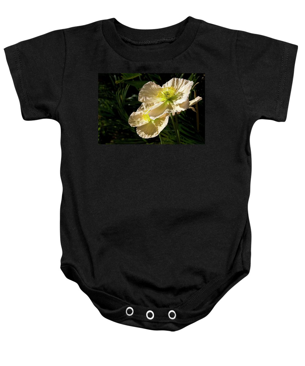Flower Baby Onesie featuring the photograph Creamy Poppies by Phyllis Denton