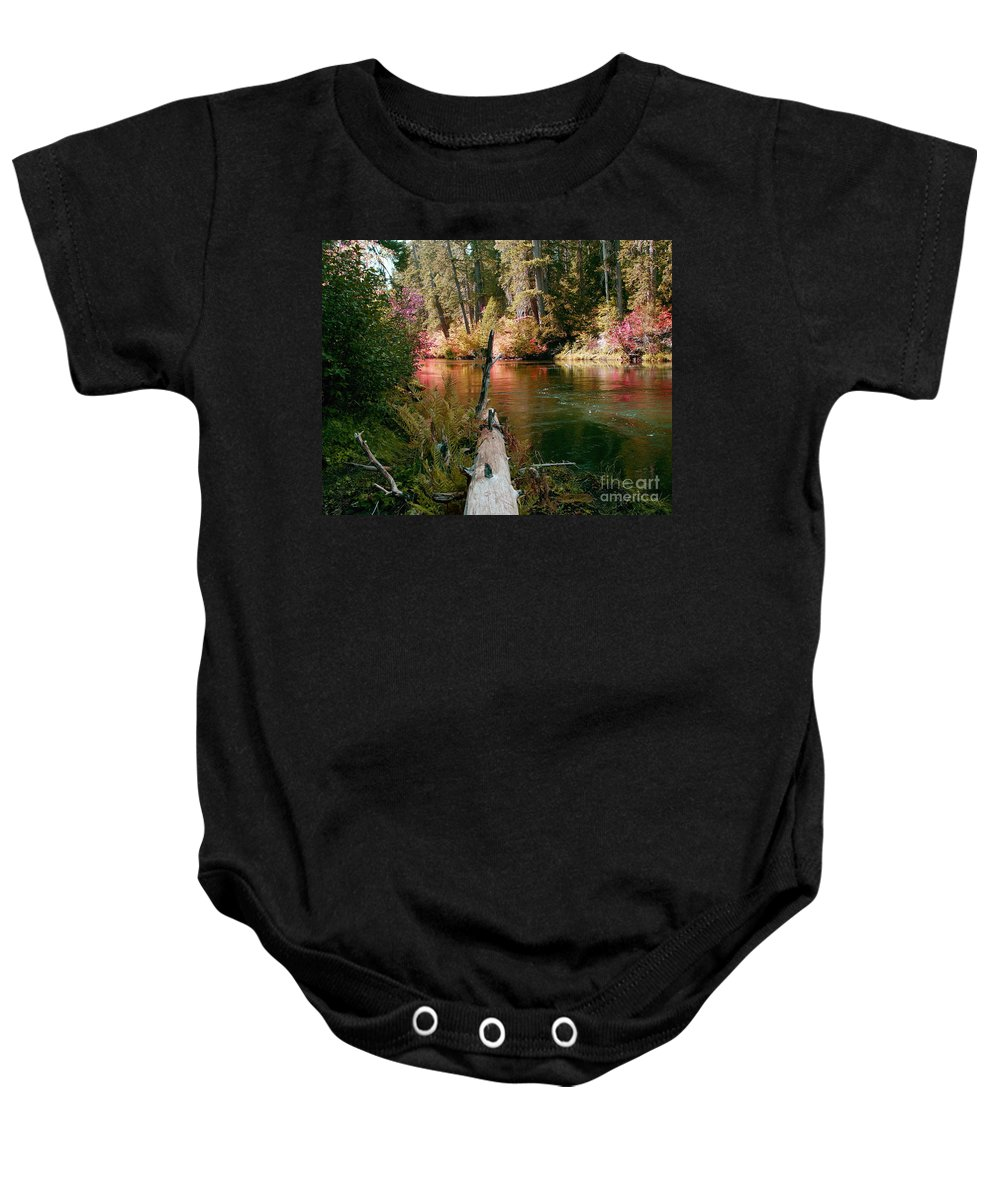 Fall Season Baby Onesie featuring the photograph Creek Fall by Peter Piatt