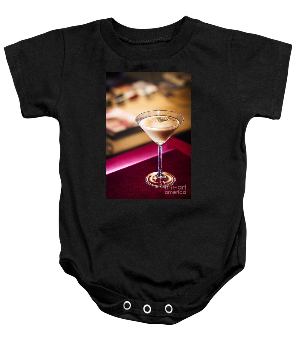 Alcohol Baby Onesie featuring the photograph Creme Caramel Martini Cocktail In Bar by Jacek Malipan