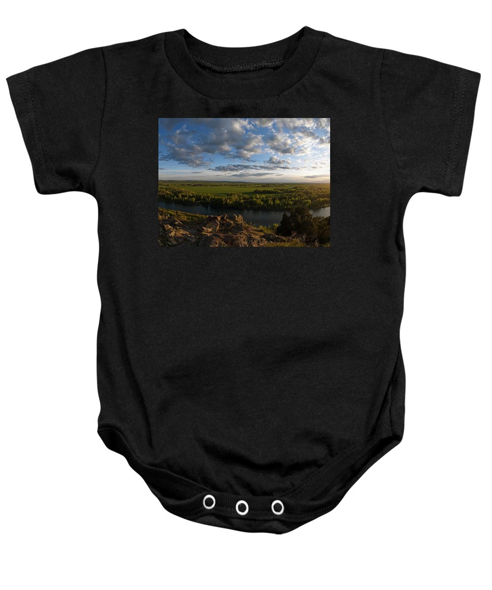 Snake River Baby Onesie featuring the photograph Cress Creek View by Leland D Howard