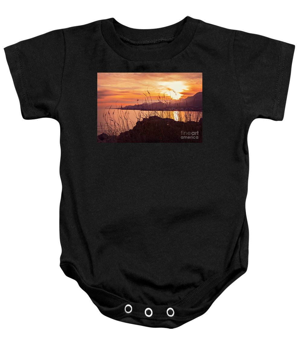 Makrigialos Baby Onesie featuring the photograph Crete Sunset Landscape by Sophie McAulay