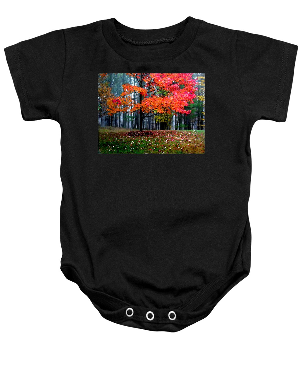Autumn Baby Onesie featuring the painting Crimson Tree by Paul Sachtleben