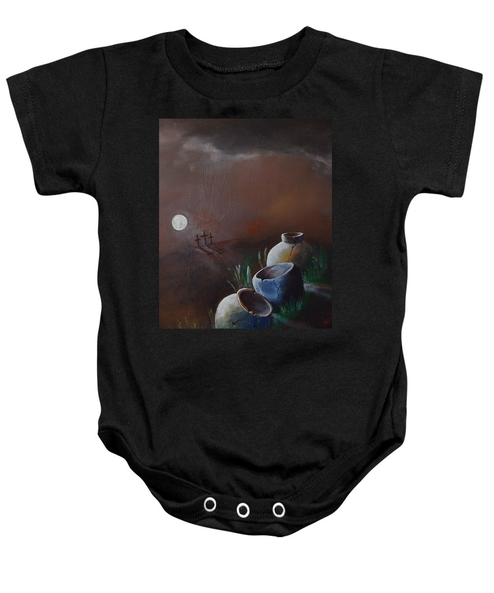 Moon Baby Onesie featuring the painting Empty Crosses Empty Crocks by Gary Smith