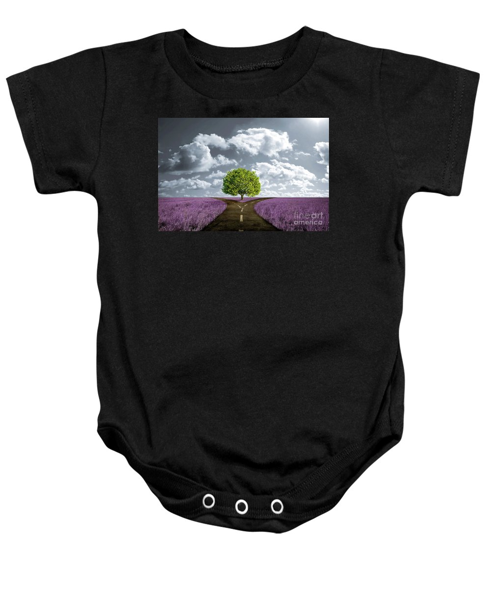 Crossroad Baby Onesie featuring the digital art Crossroad In Lavender Meadow by Giordano Aita