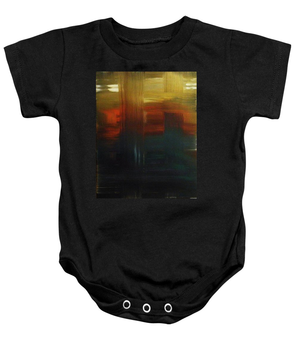 Abstract Baby Onesie featuring the painting Crossroads by Todd Hoover