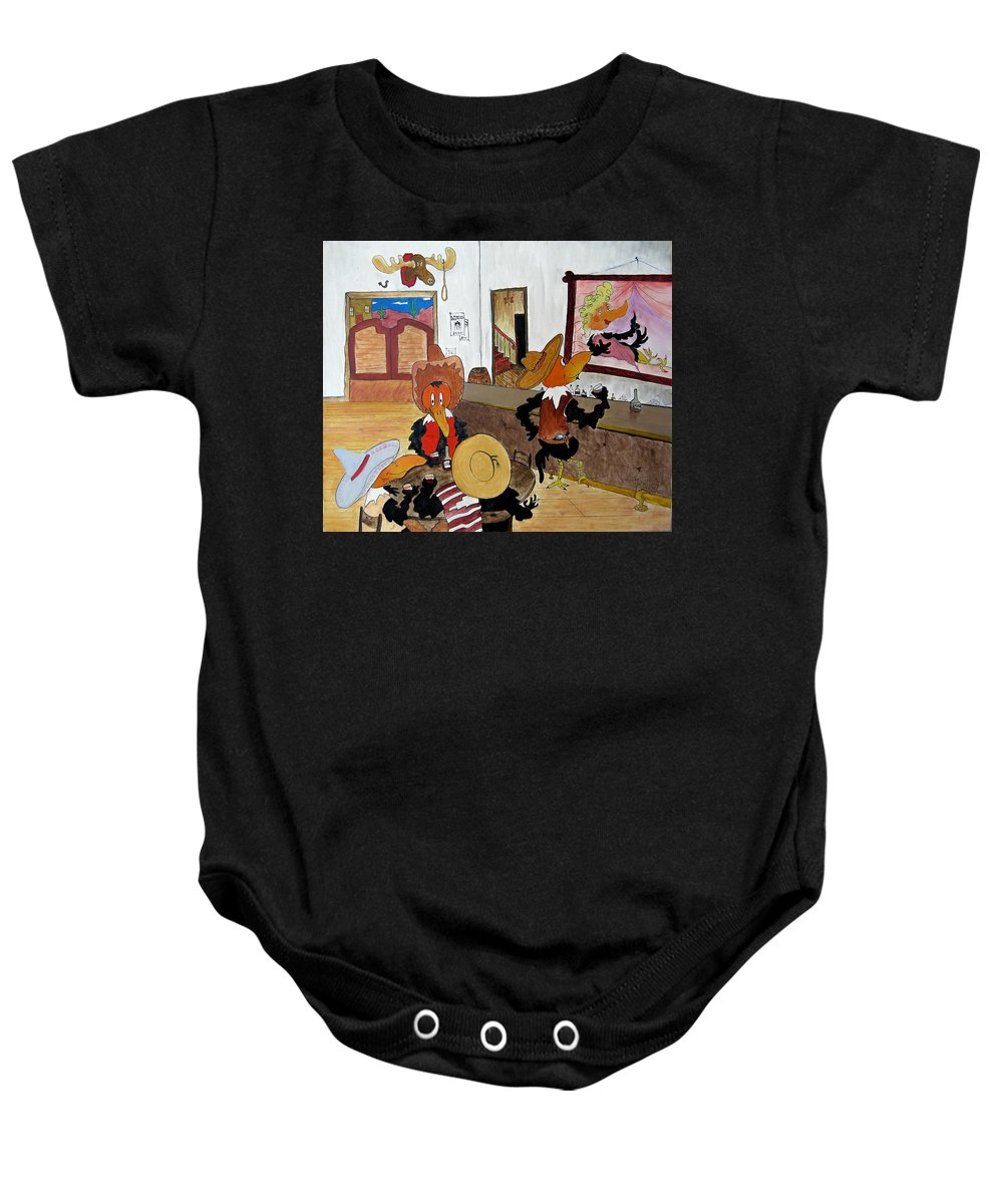 Ravens Baby Onesie featuring the painting Crow - Bar by Patrick Trotter