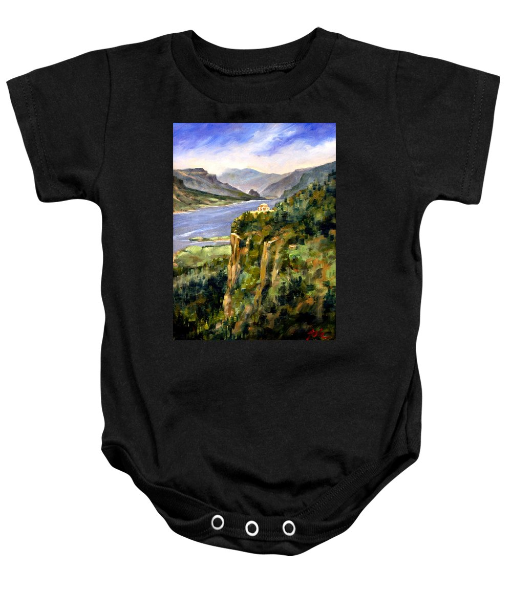 16 X 12 Baby Onesie featuring the painting Crown Point Oregon by Jim Gola