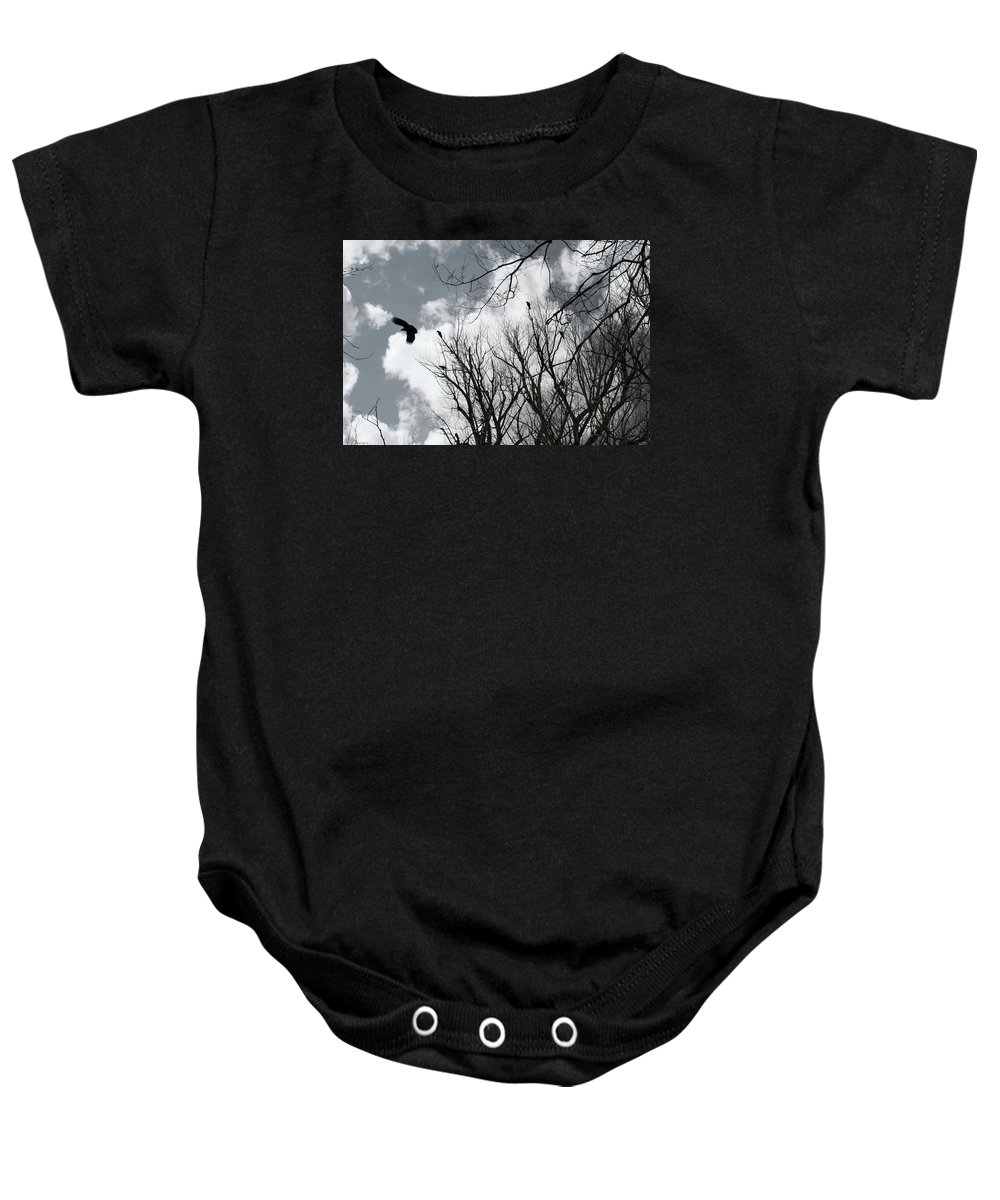 Crows Baby Onesie featuring the photograph Crows In Cottonwoods by Ric Bascobert