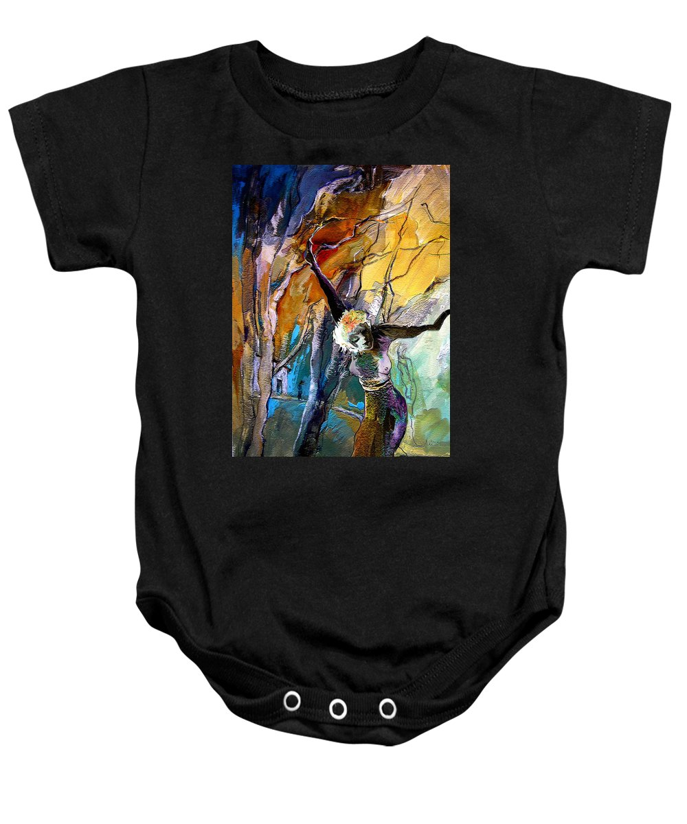 Tree Baby Onesie featuring the painting Crucifixion by Miki De Goodaboom