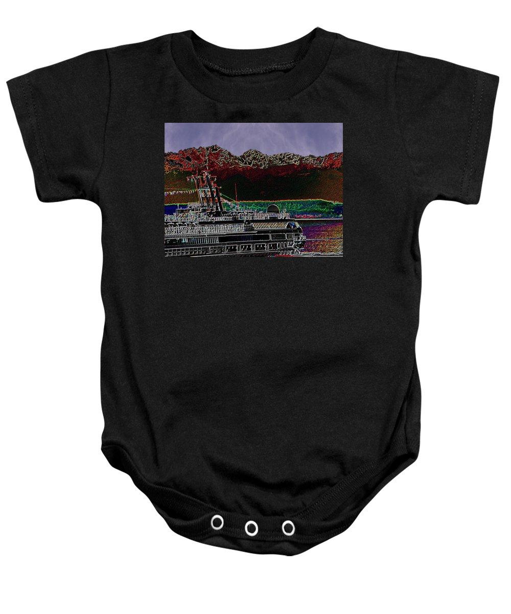Seattle Baby Onesie featuring the digital art Cruising Puget Sound by Tim Allen