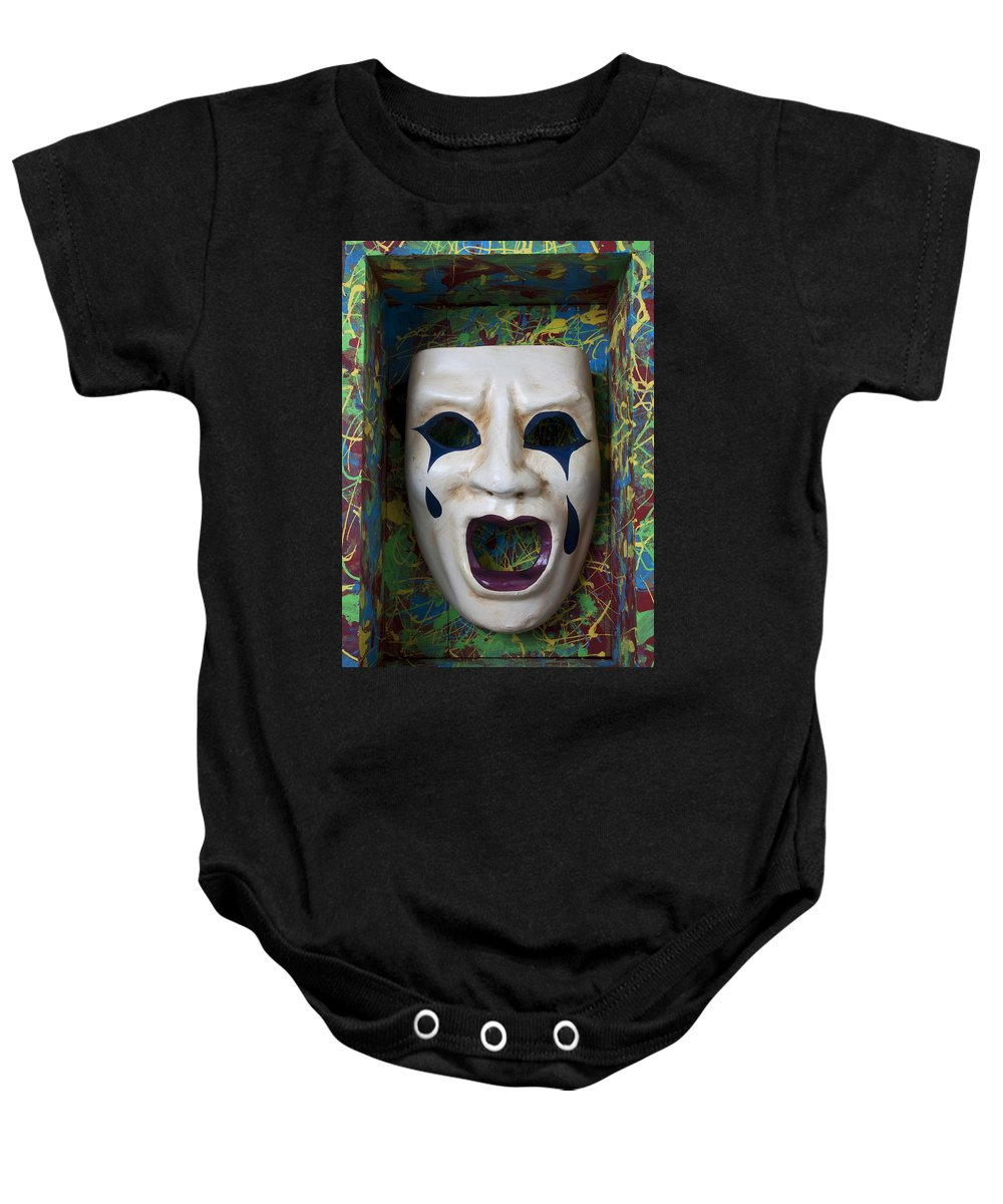 Crying Baby Onesie featuring the photograph Crying Mask In Box by Garry Gay