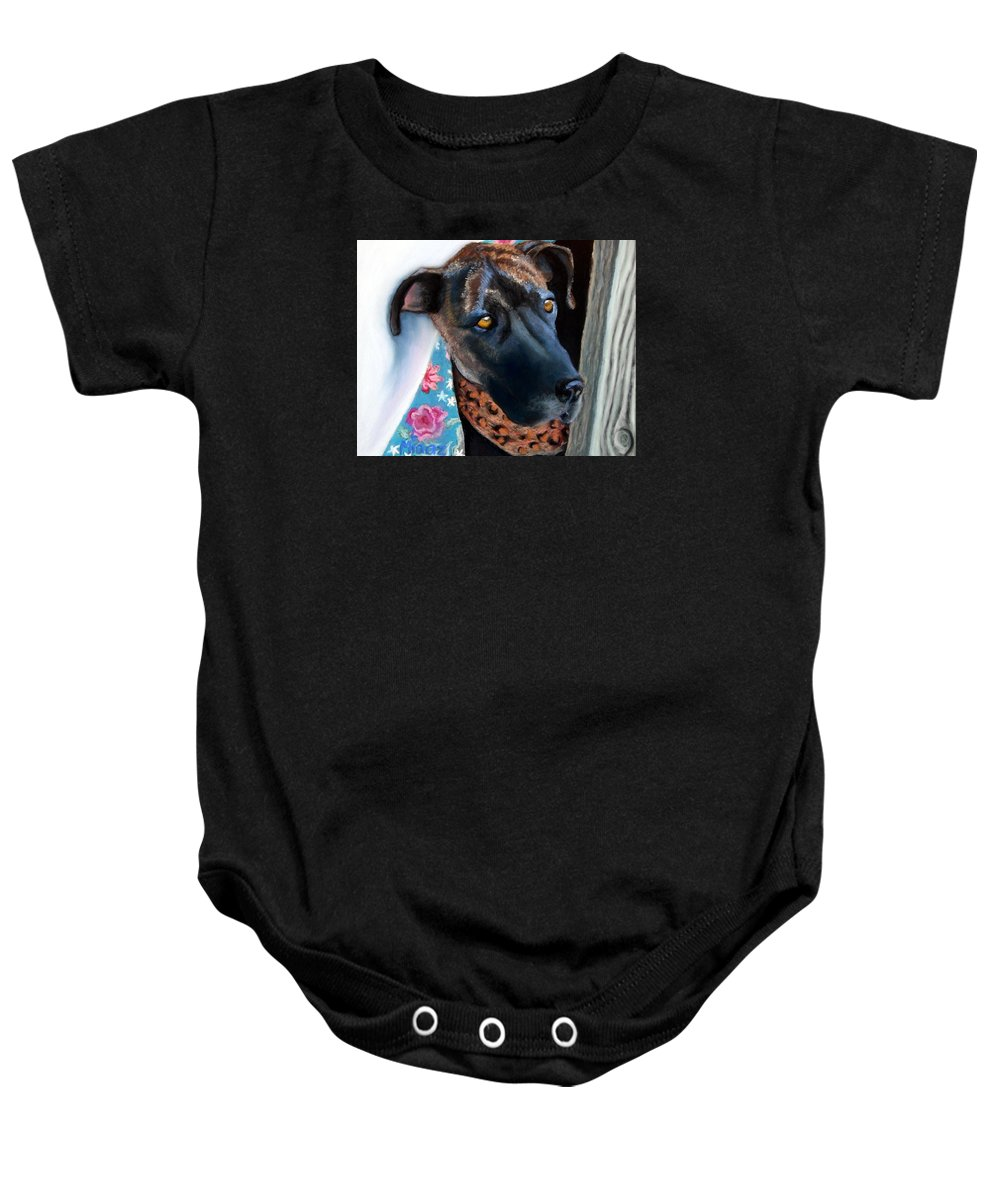 Great Dane Baby Onesie featuring the painting Whats Going On? by Minaz Jantz