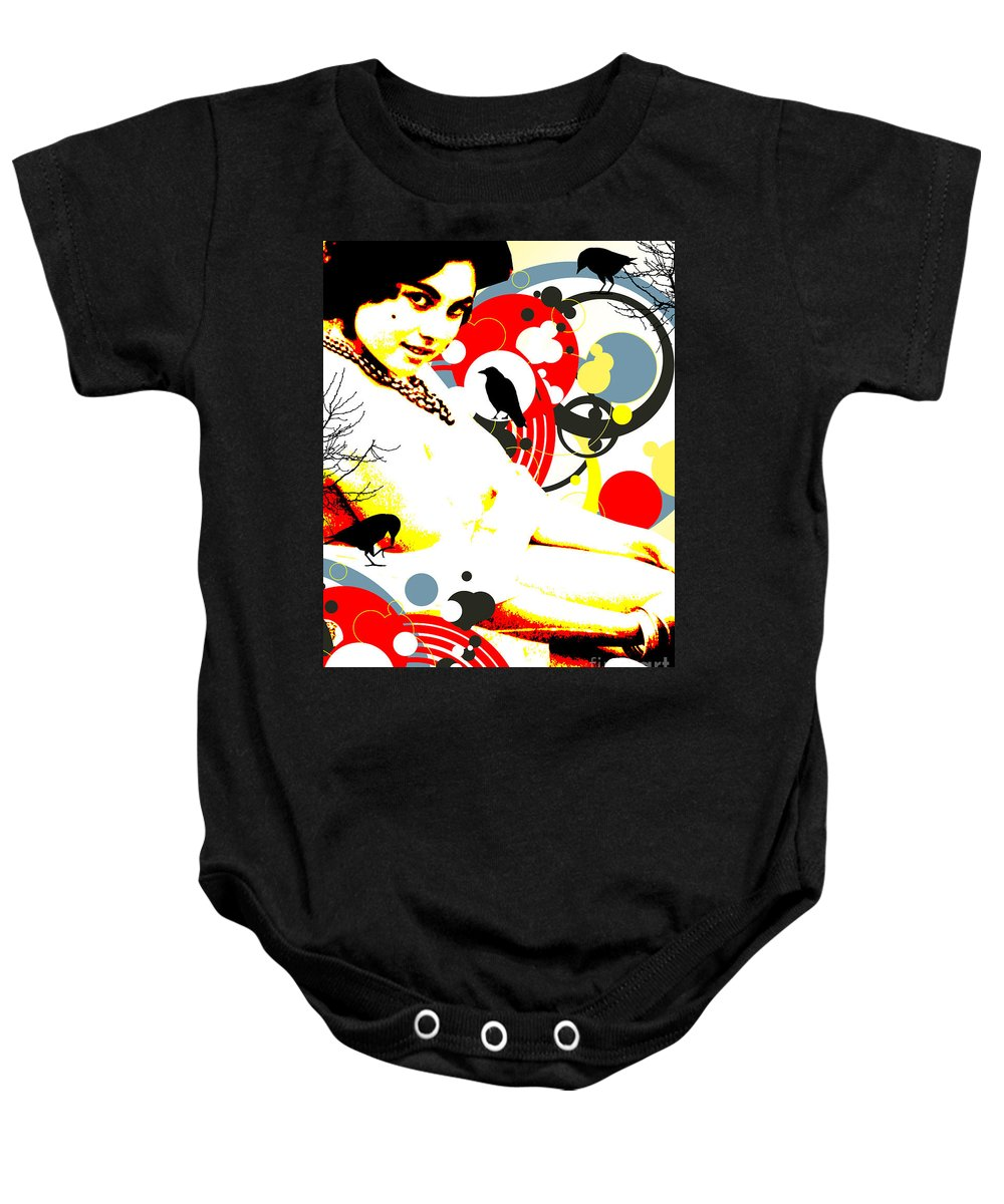 Nostalgic Seduction Baby Onesie featuring the digital art Curious Crow by Chris Andruskiewicz