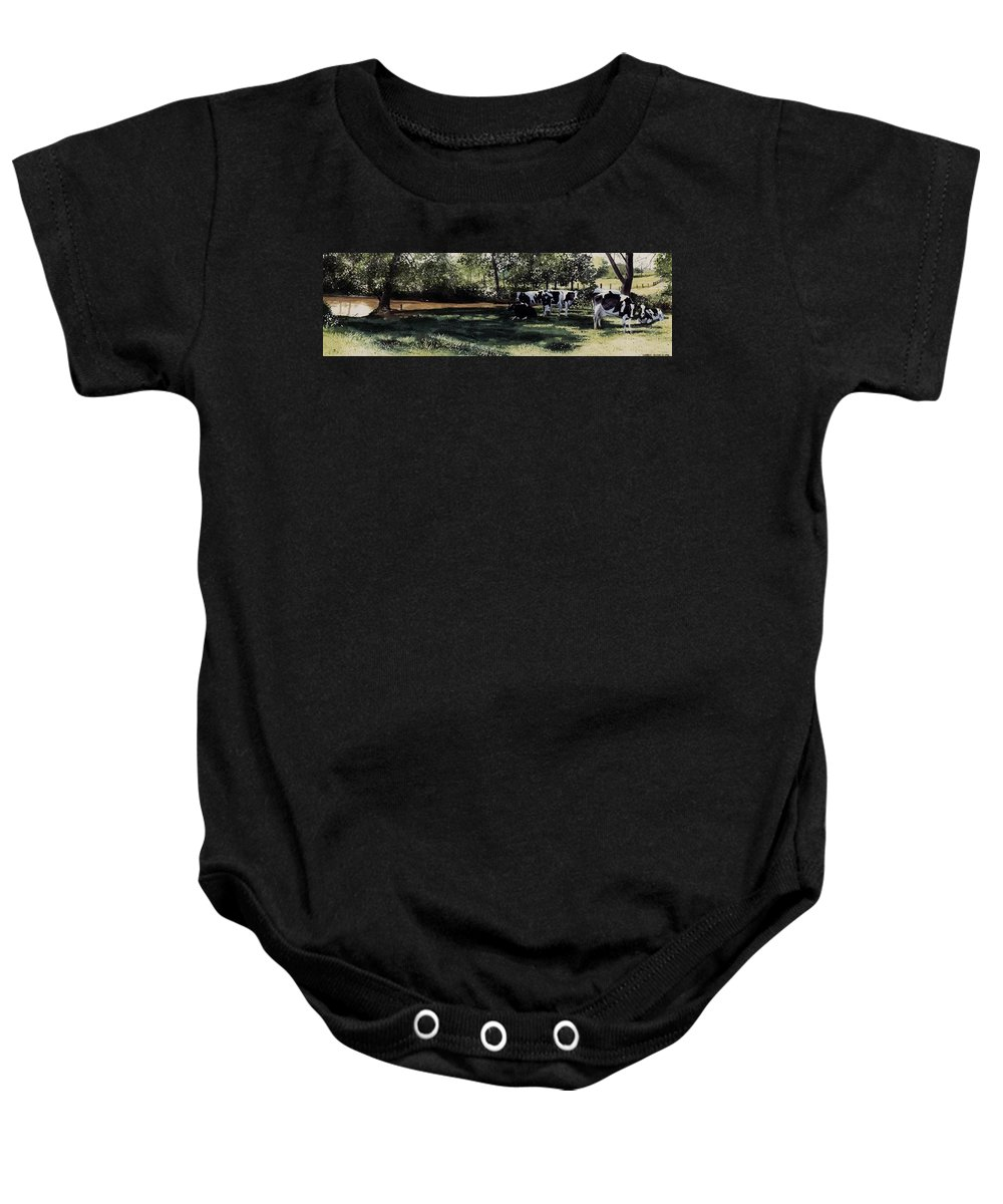 Watercolor Baby Onesie featuring the painting Curious Stare by Denny Bond