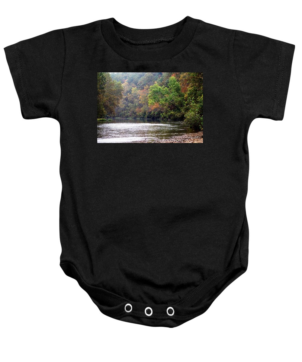 Current River Baby Onesie featuring the photograph Current River Fall by Marty Koch
