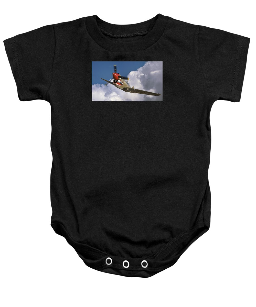 Flying Tigers Baby Onesie featuring the photograph Curtiss P-40n Warhawk by Larry McManus