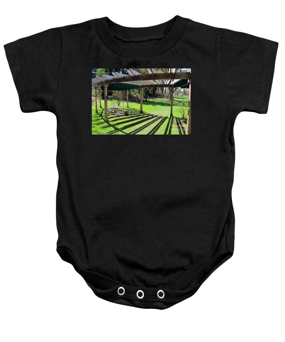 Arbor Baby Onesie featuring the photograph Curved Arbor by Douglas Milligan