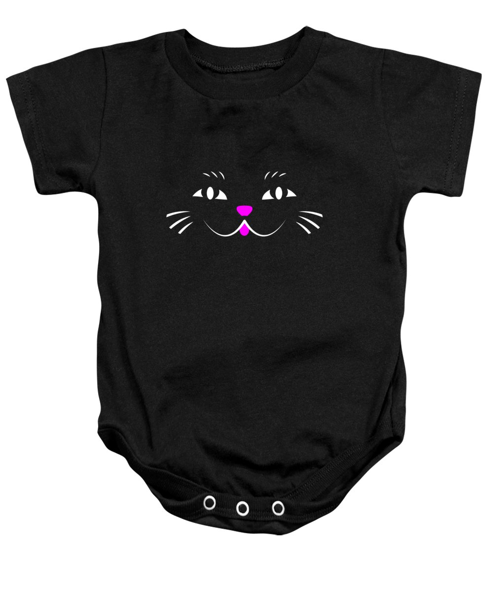 Cute Baby Onesie featuring the digital art Cute Cat Face by Antique Images