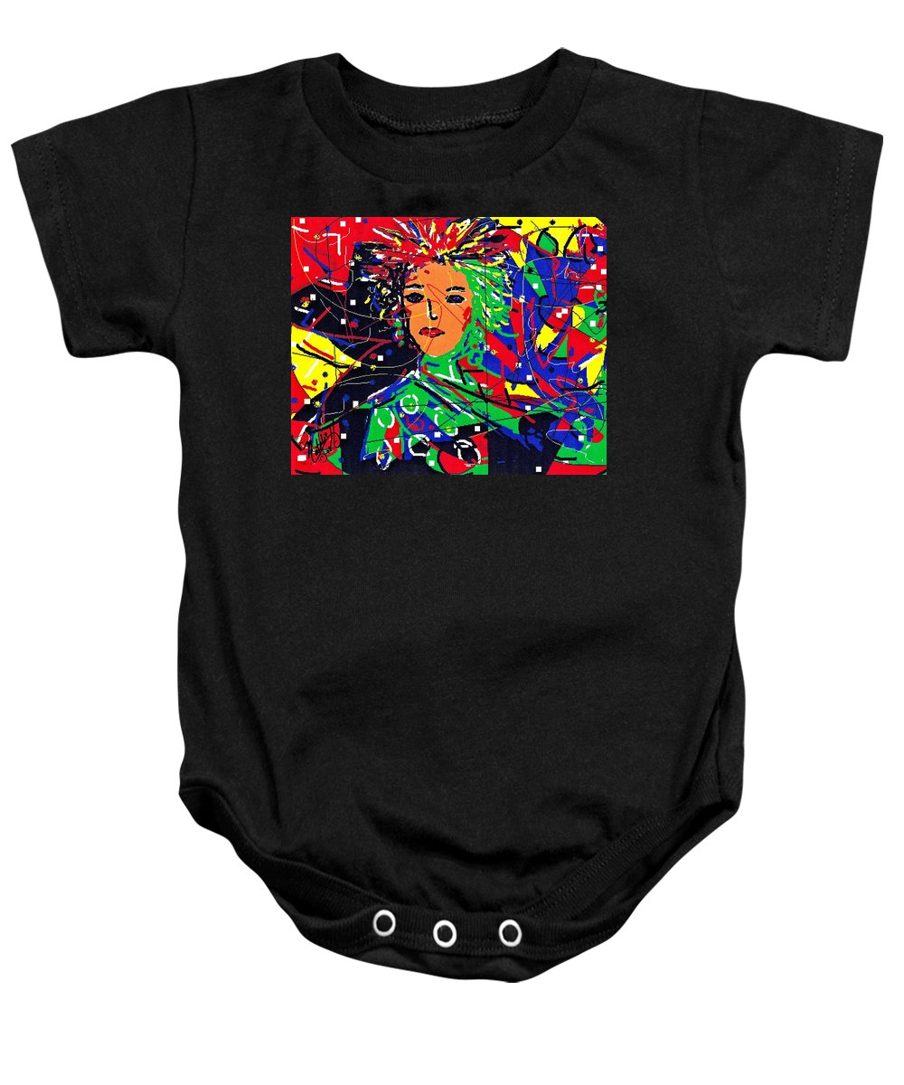 Woman Baby Onesie featuring the digital art Cyberspace Goddess by Natalie Holland