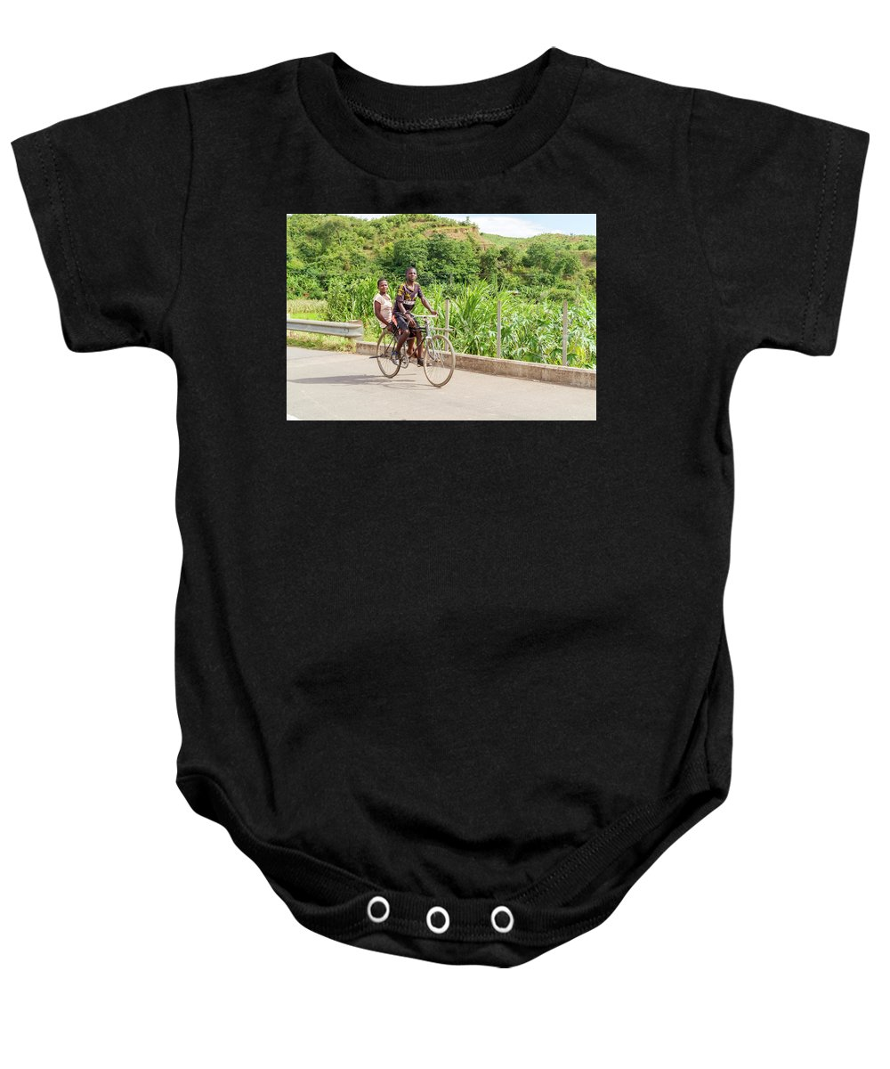 People Baby Onesie featuring the photograph Cycling In Malawi by Marek Poplawski